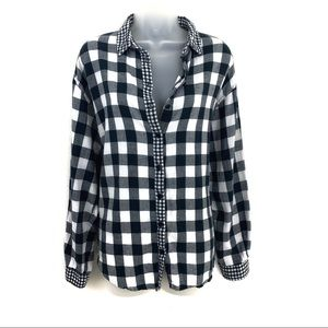 Topshop Black Buffalo Plaid Button Up Shirt